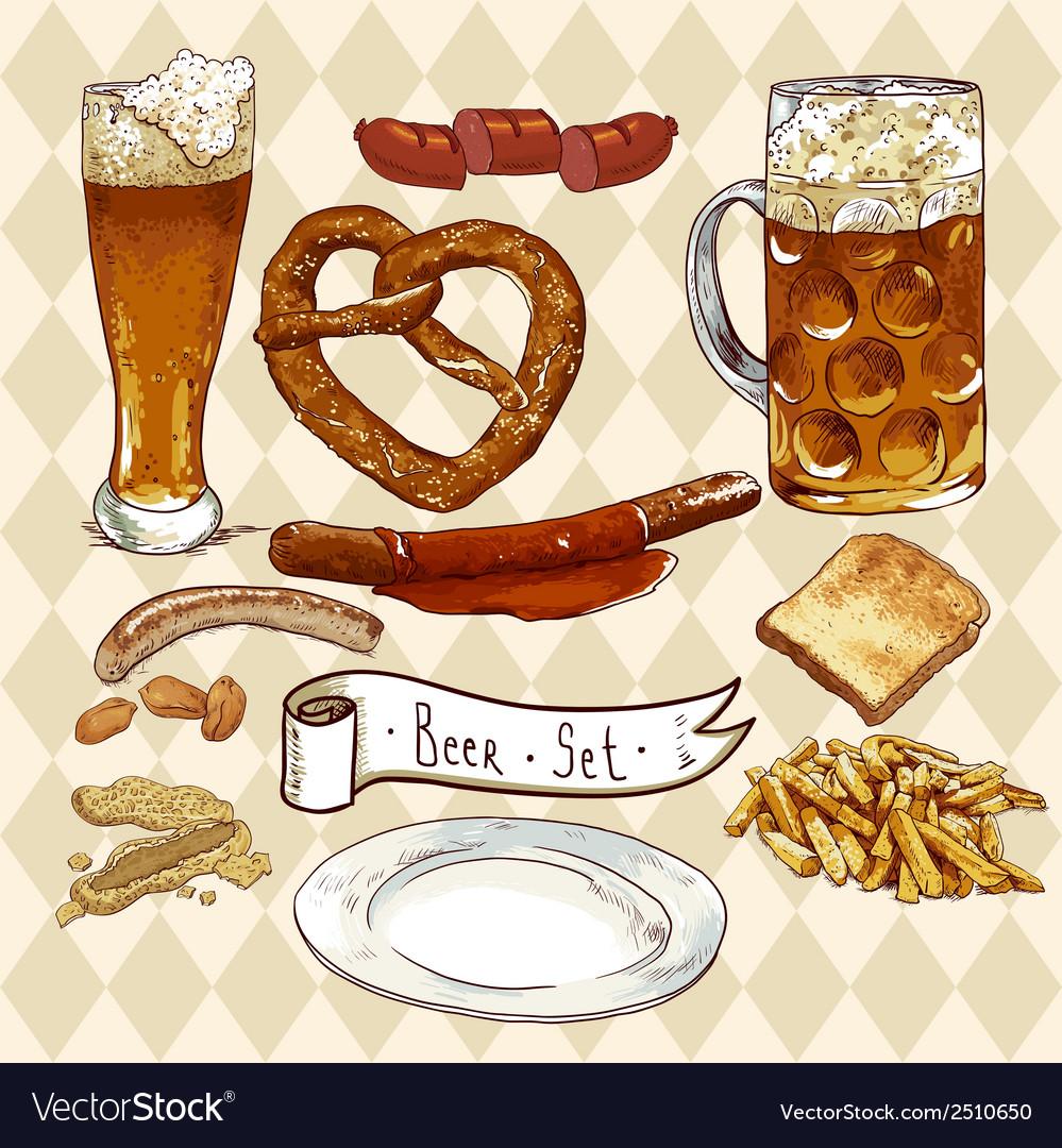 Beer Set with beer glasses pretzel sausages