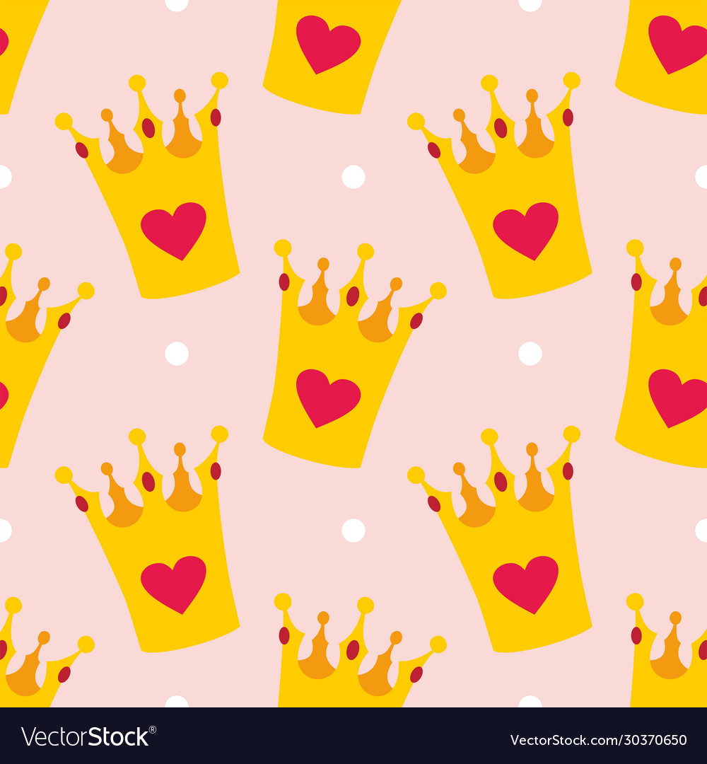 Crown and polka dots seamless background