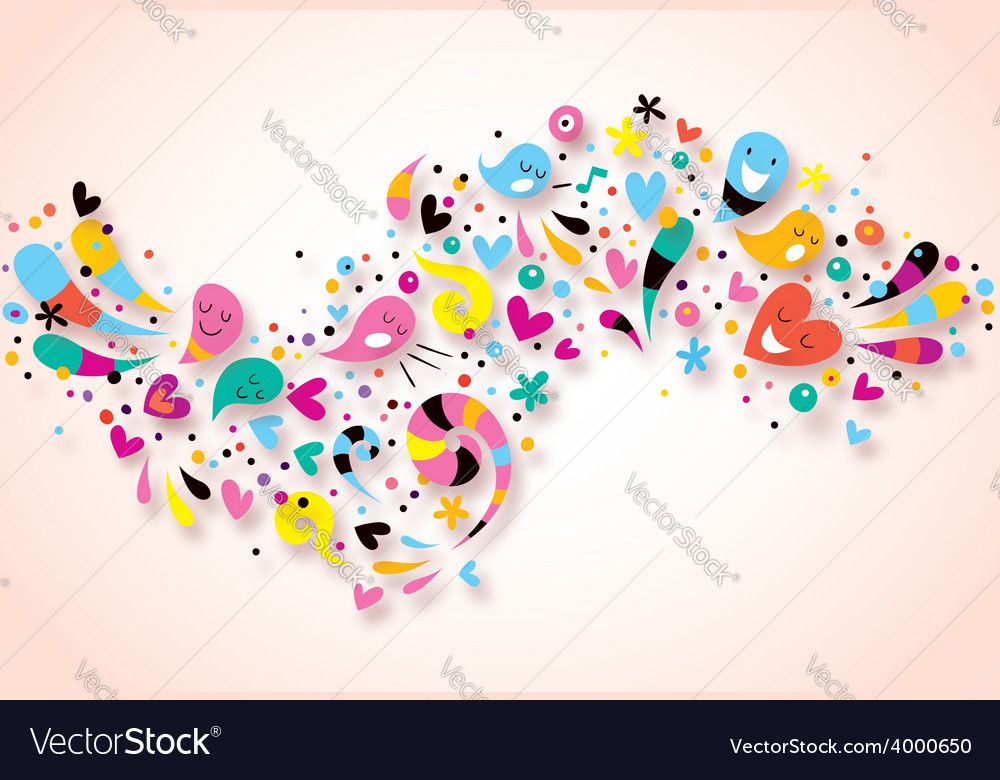 Cute characters fun party abstract art background