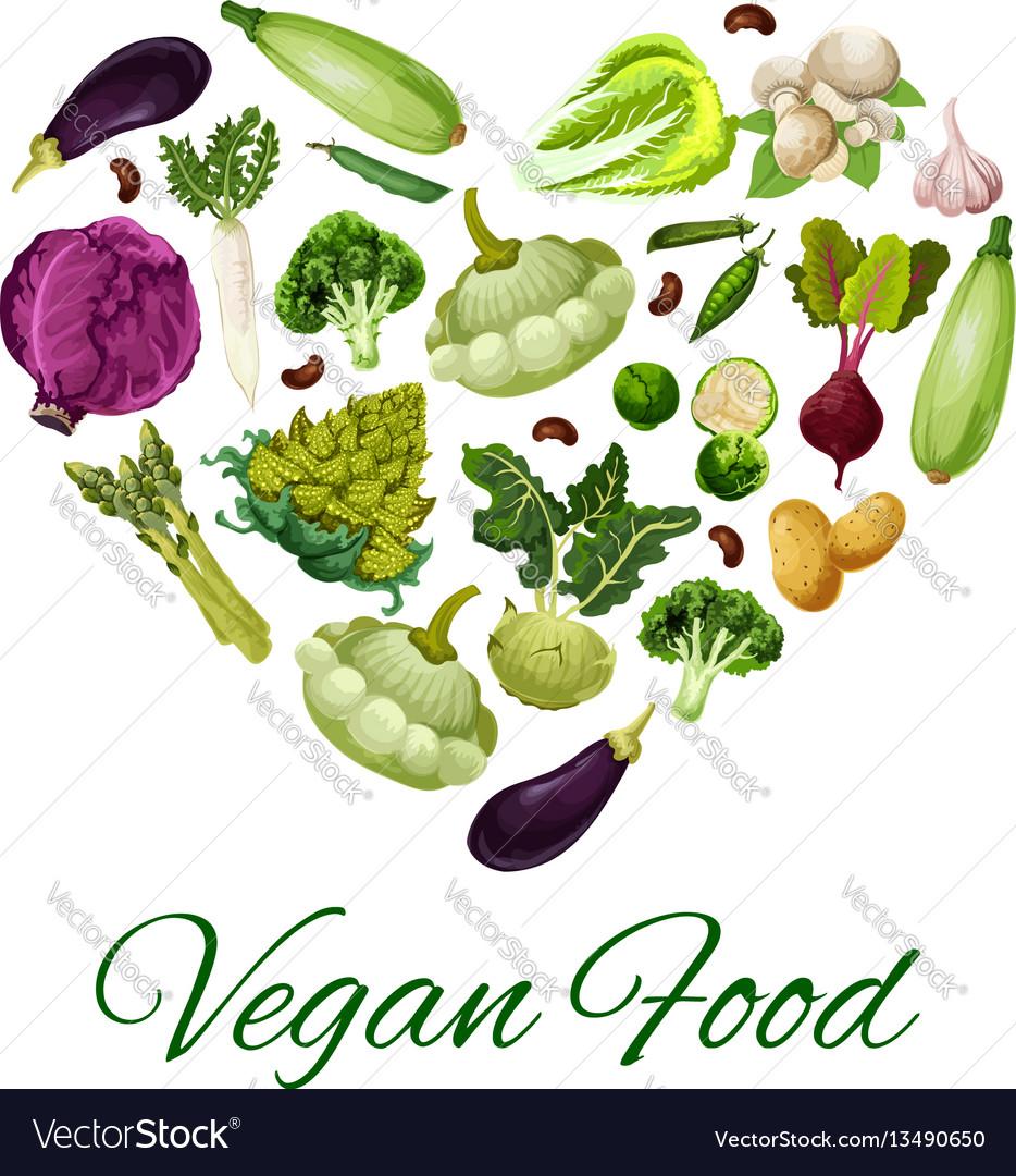 Heart with vegetable bean mushroom poster vector image
