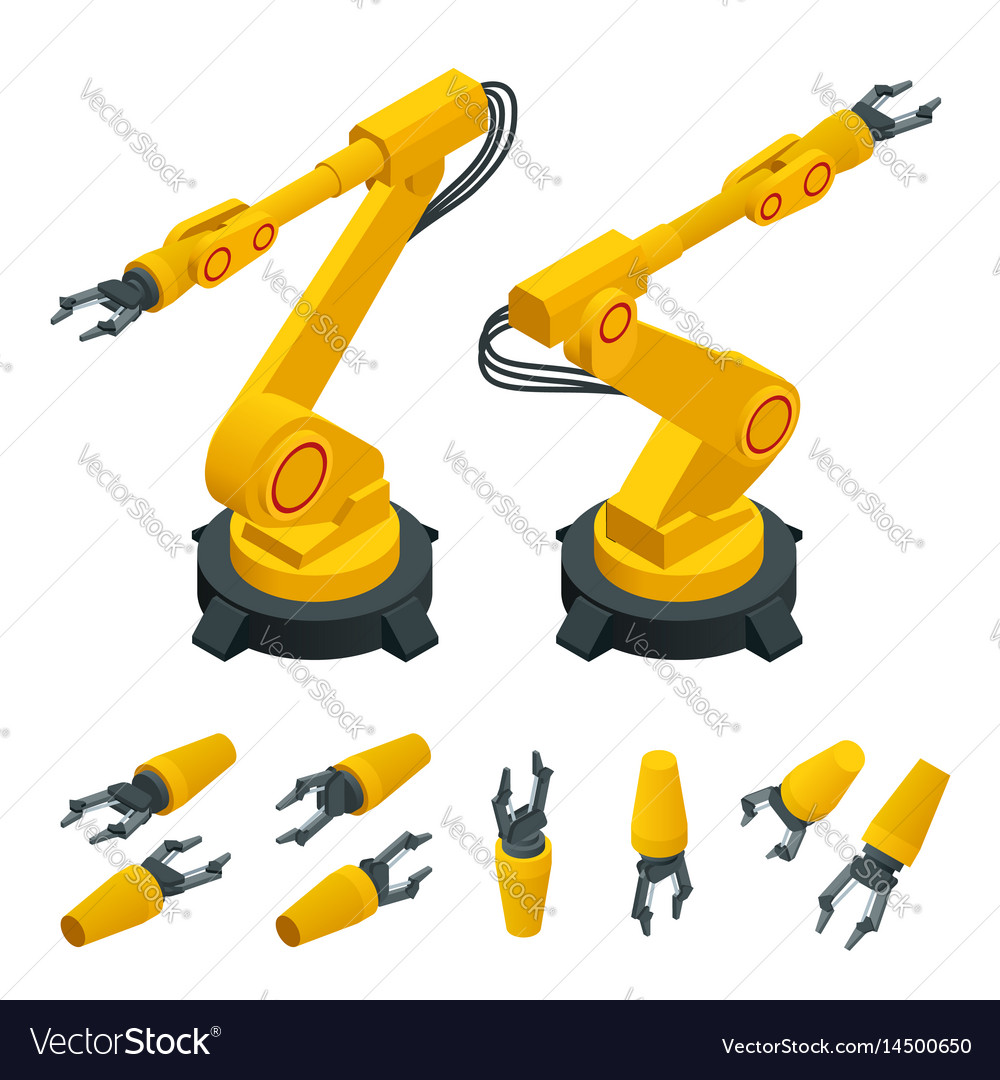 Isometric robotic arm hand industrial robot flat