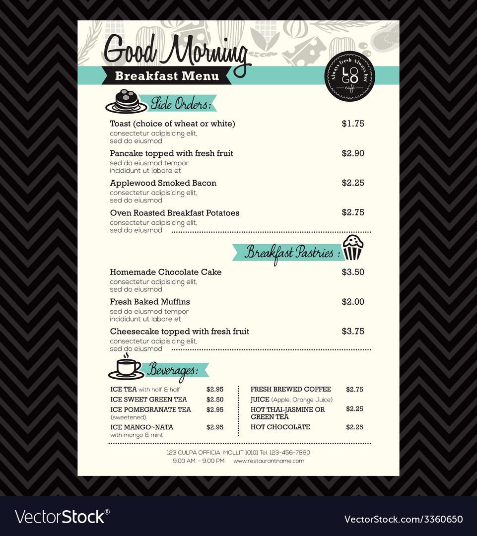 Breakfast Menu Layout Kleobeachfixco - Menu layout templates free