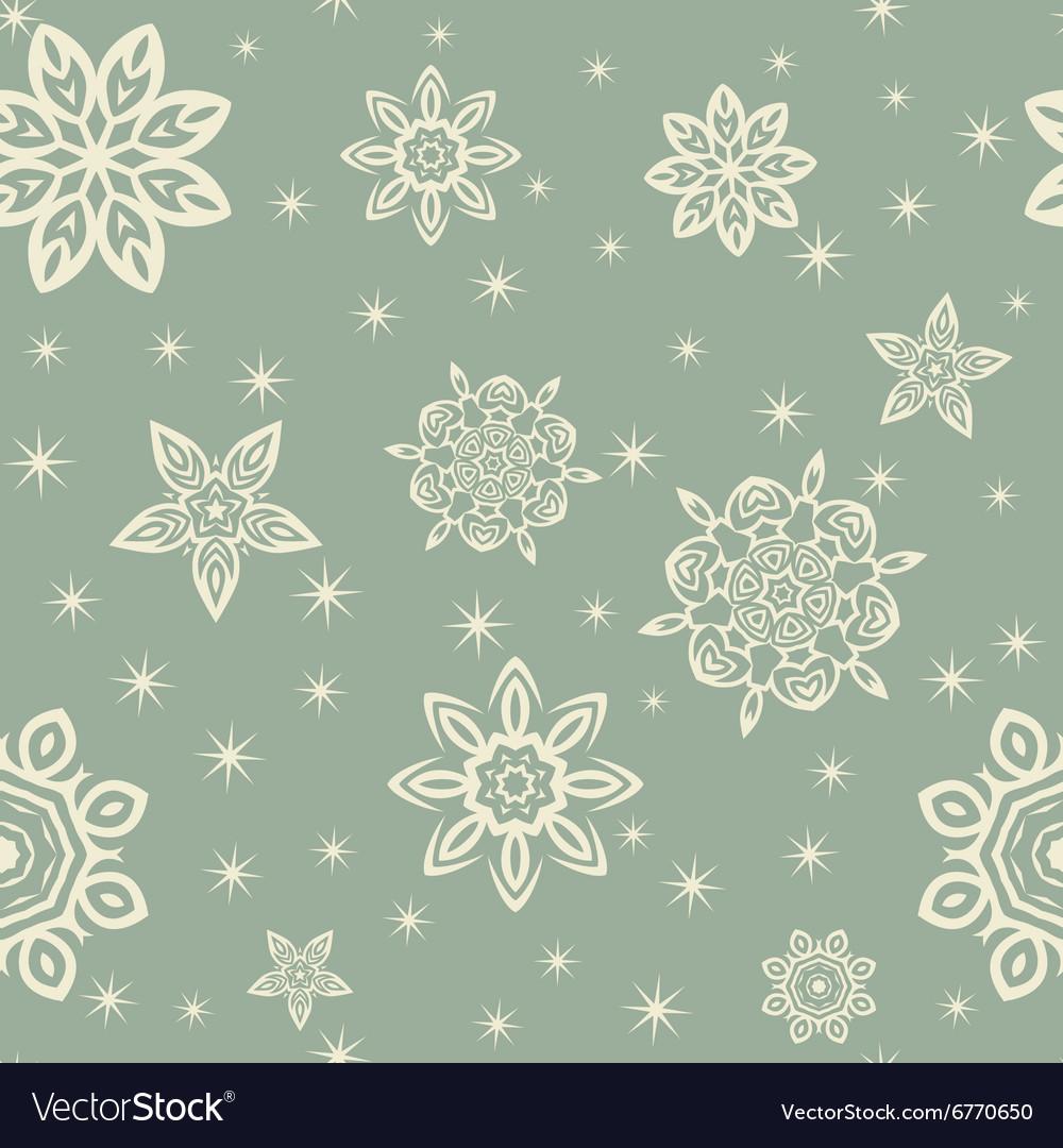 Retro Christmas pattern with white snowflakes on