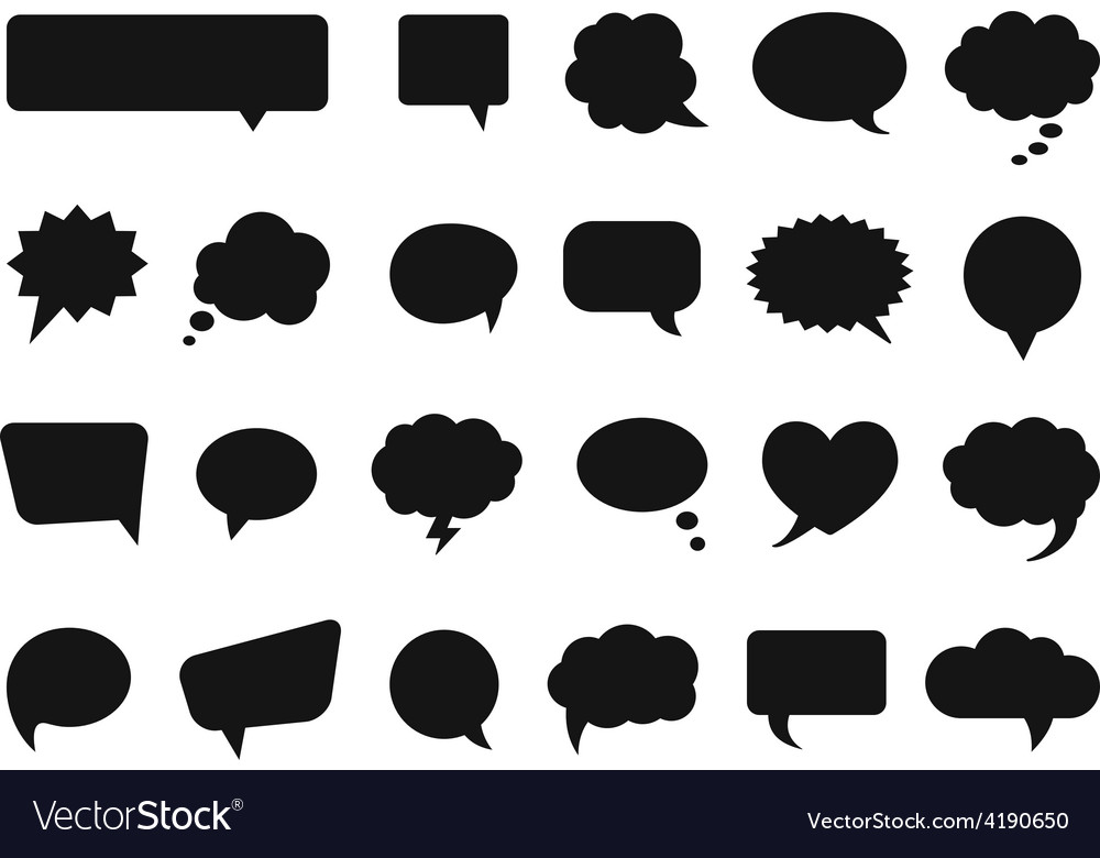 Talk and think comics bubbles silhouettes