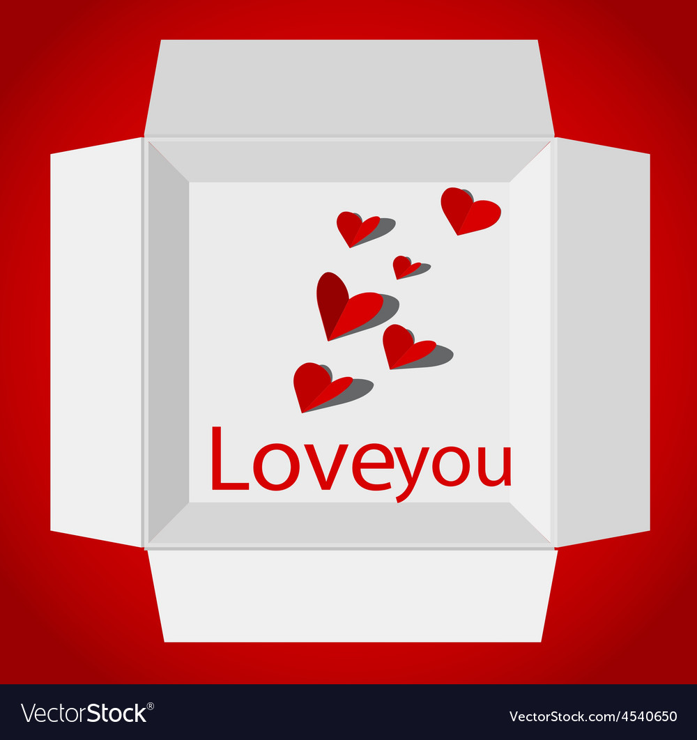 Valentin day with gift box red paper