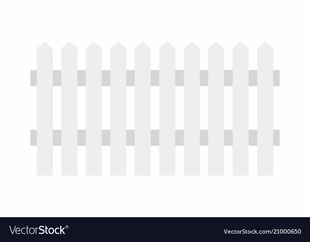 Bon White Wooden Fence Vector Image