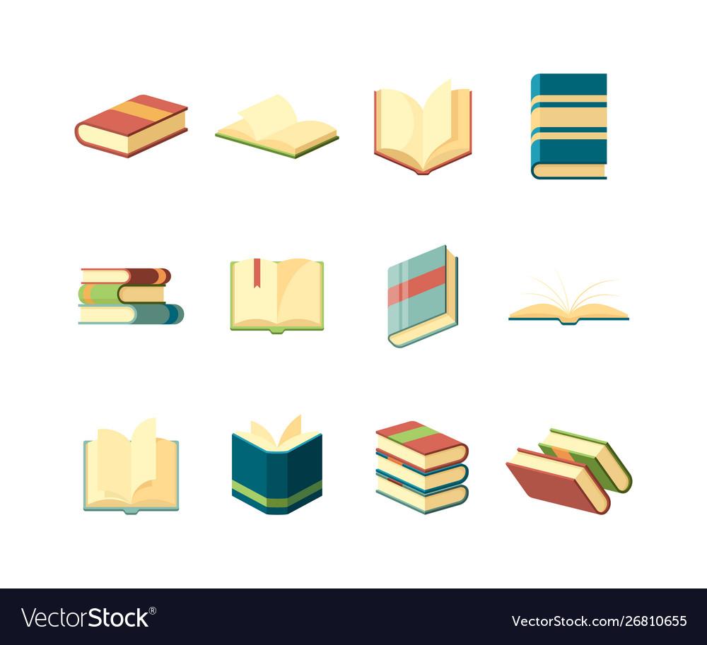 Books flat library symbols learning studying