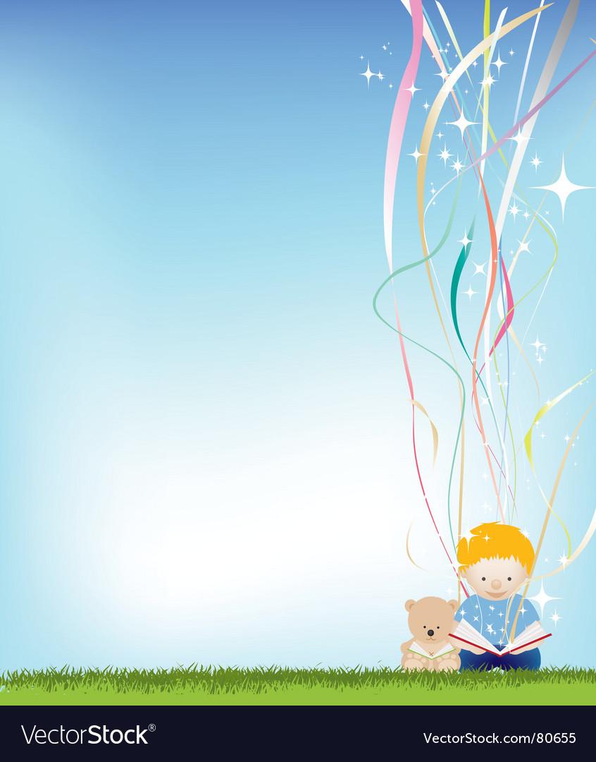 Boy reading magic vector image