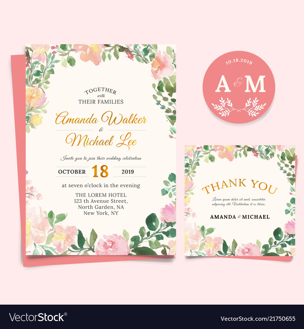 Floral Wedding Invitation Elegant Thank You Card Vector Image