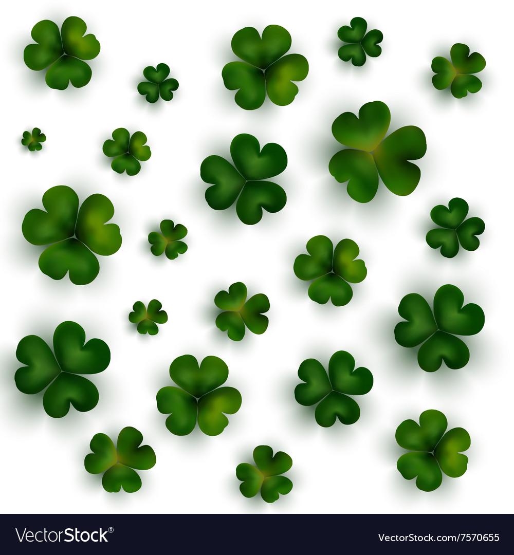 Green clovers on white decoration for St Patricks
