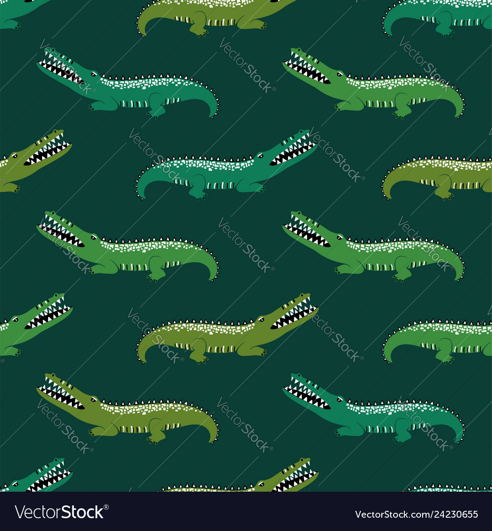 Green crocodiles seamless pattern