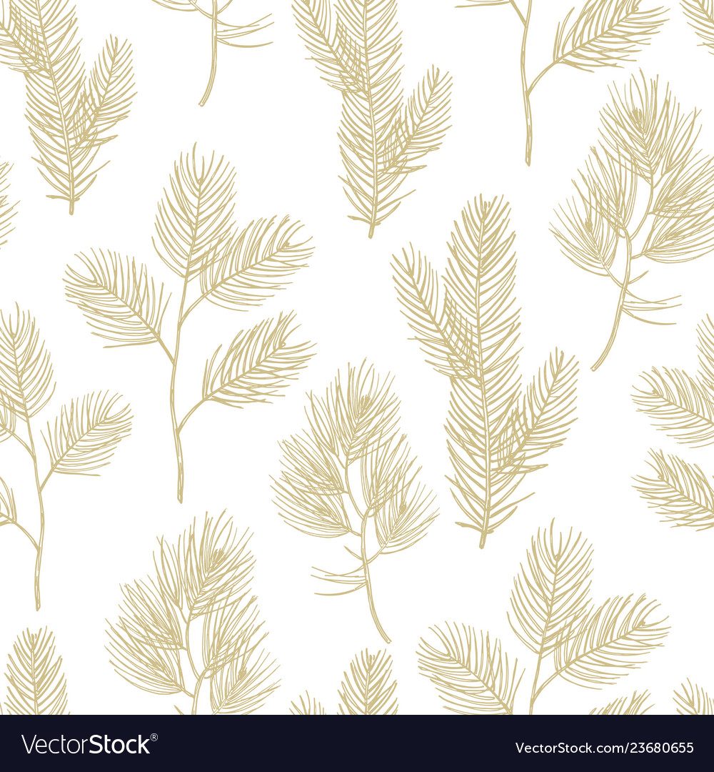 Hand drawn golden fir branches seamless pattern