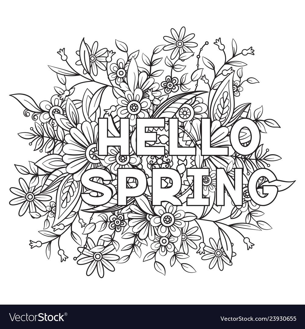 Hello spring coloring page Royalty Free Vector Image