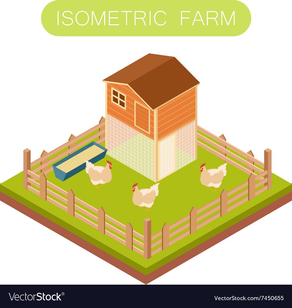 Isometric henhouse with chikens