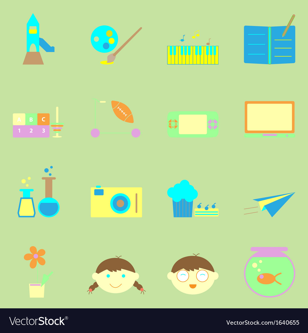 Kid activities color icons set Royalty Free Vector Image