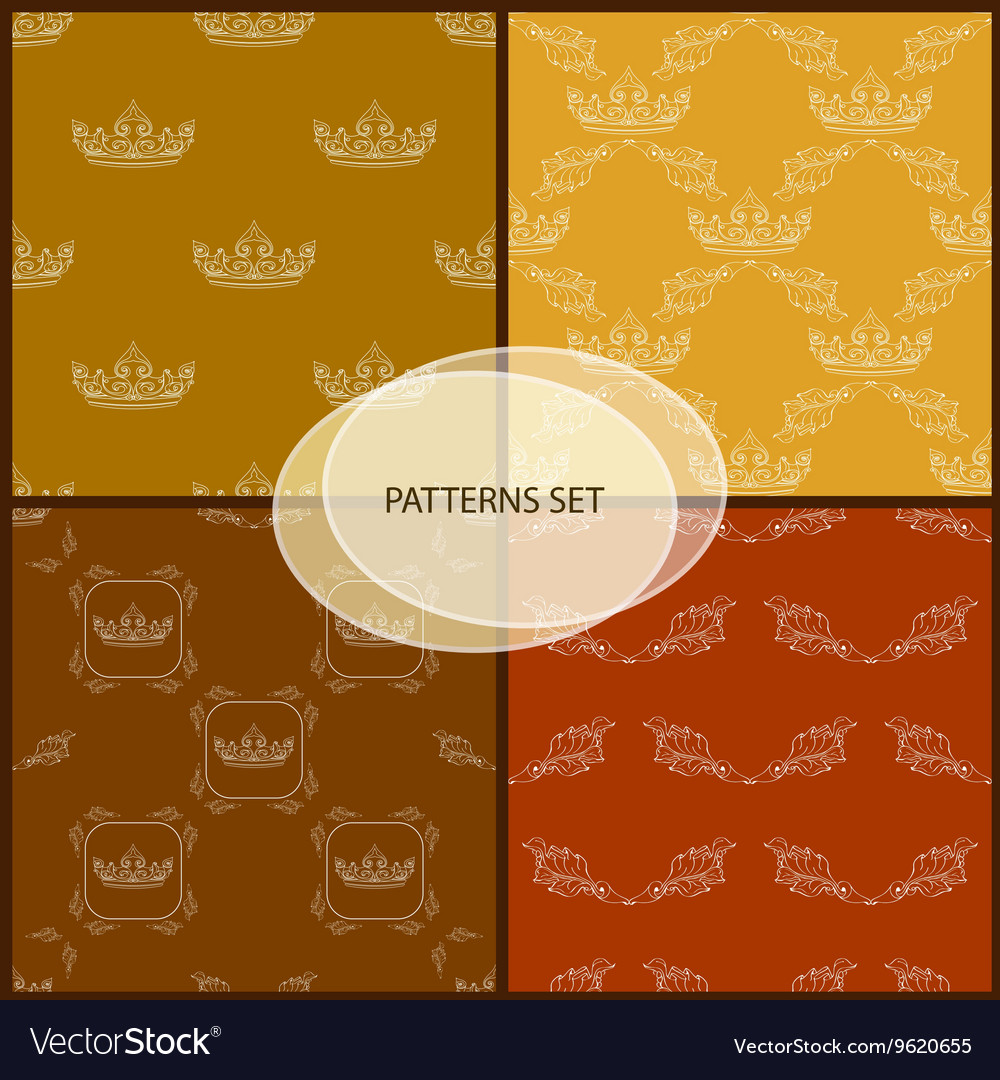 Seamless pattern set with crown and floral vector image