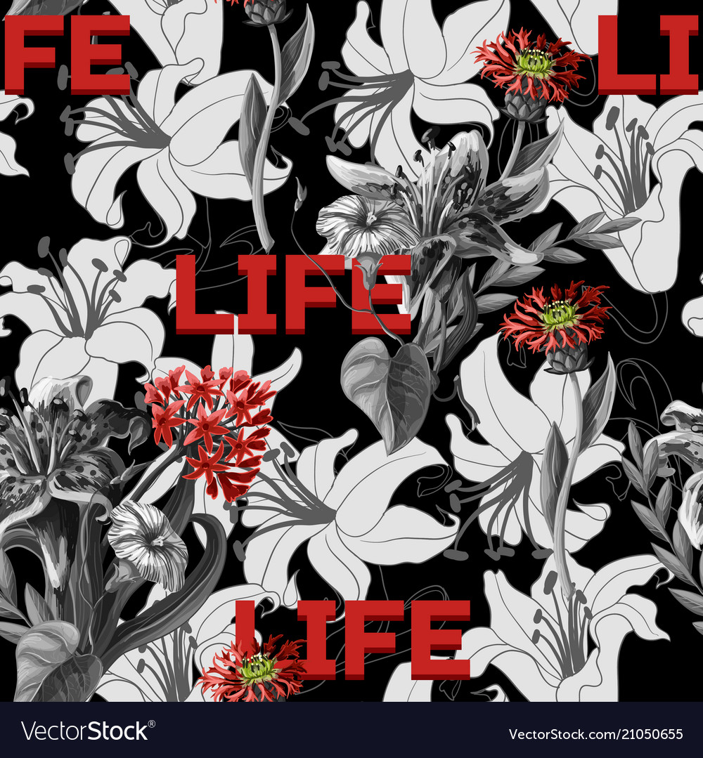 Seamless pattern with graphical lilies