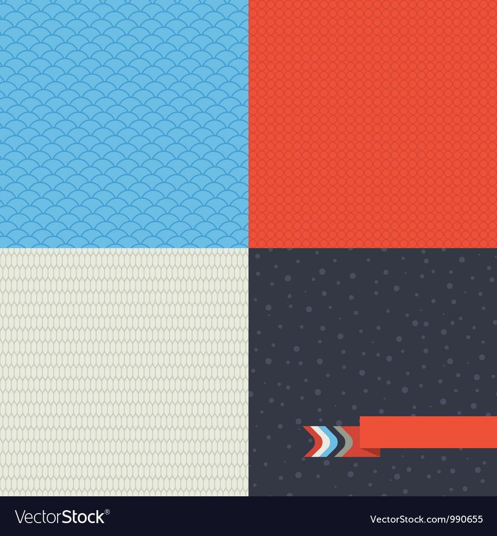 Seamless set of retro pattern vector image