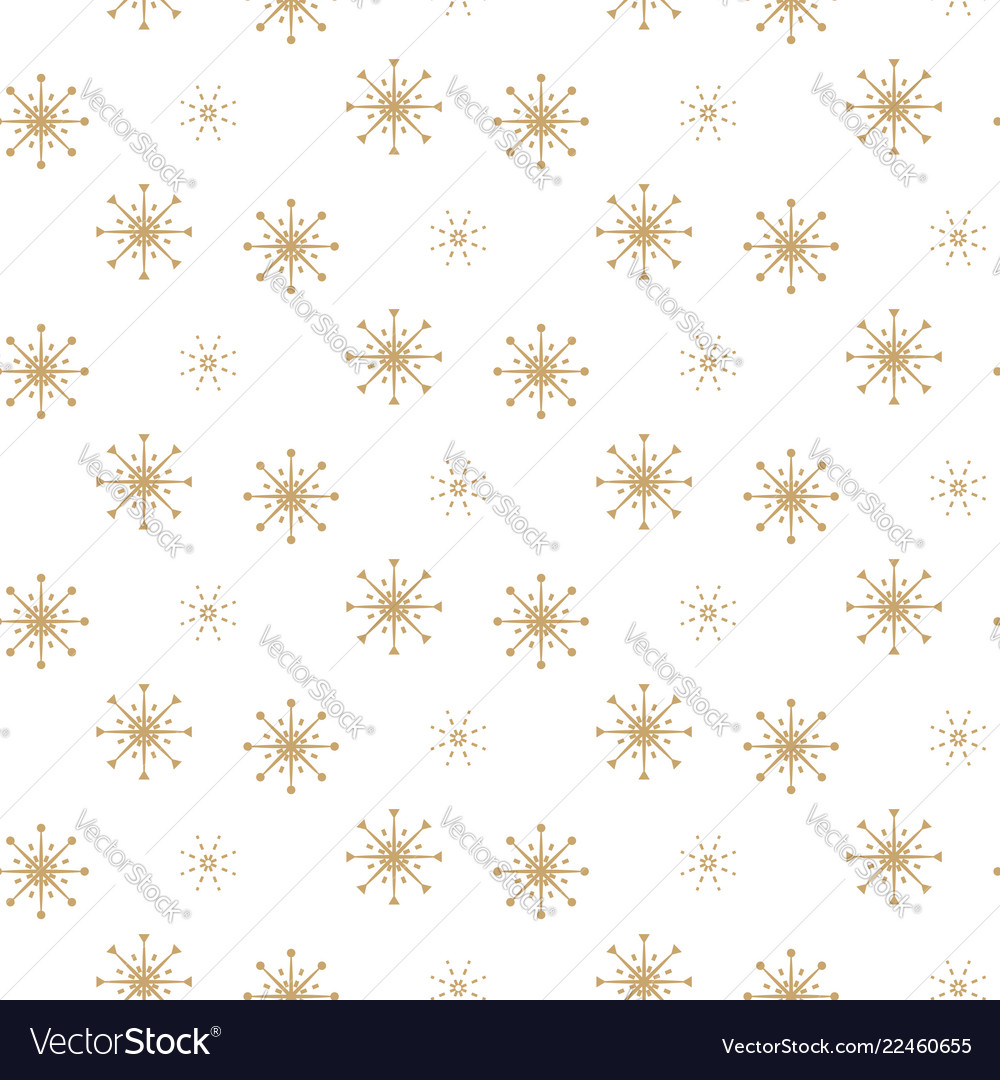Snowflake seamless white and gold winter