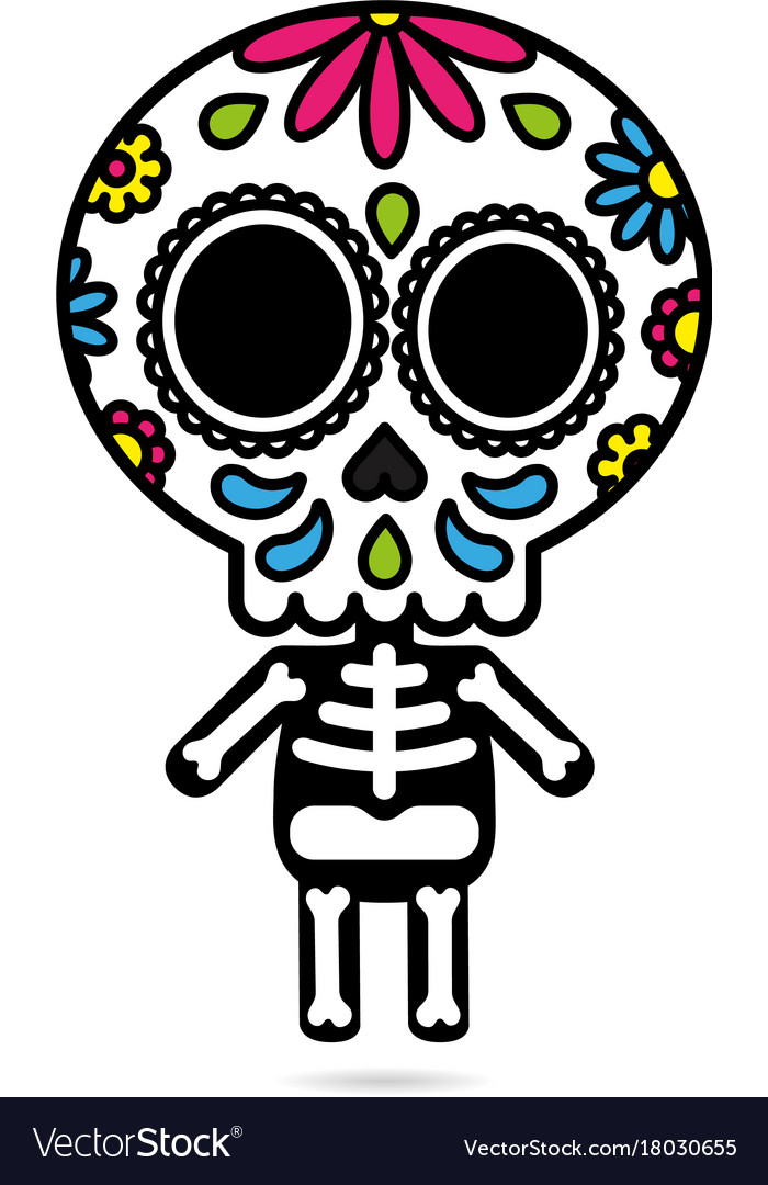 Sugar skull character isolated day of the dead