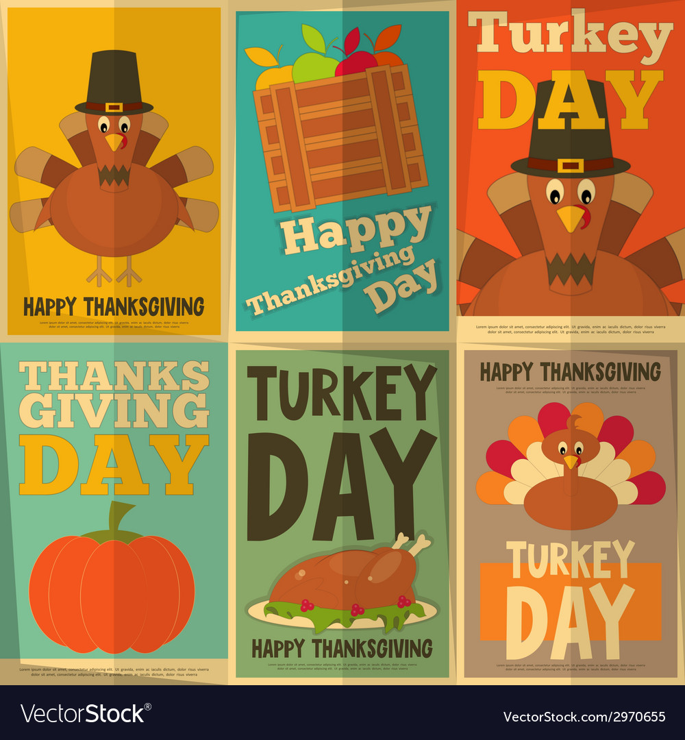 Thanksgiving Day Retro Posters
