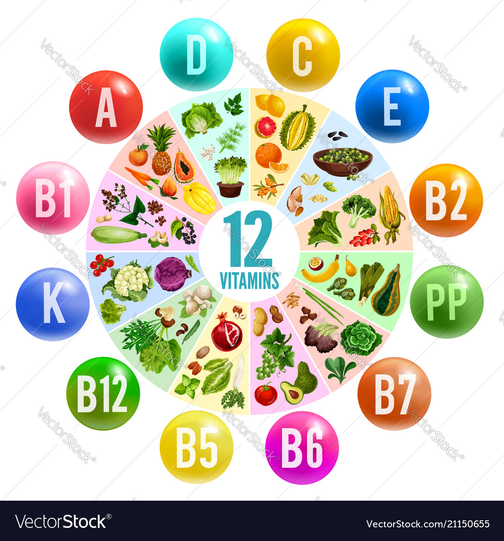 Vitamin Pill Circle Chart Banner With Healthy Food Vector Image