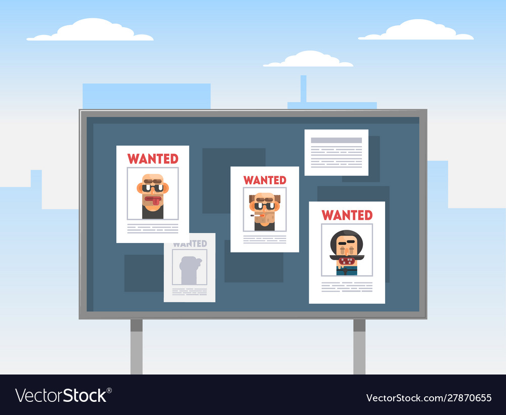 Wanted criminals banner template placards