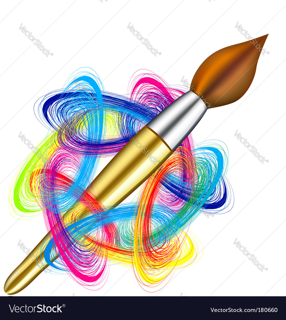 Artists palette and brush vector image