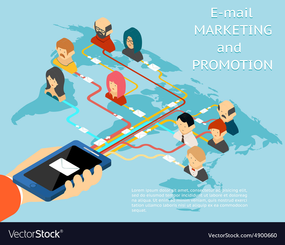 Email marketing and promotion mobile app isometric