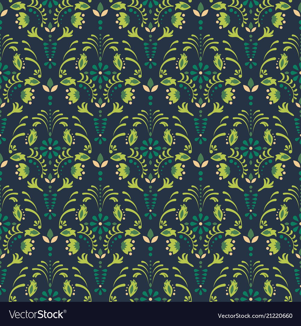 Emerald green damask flower seamless