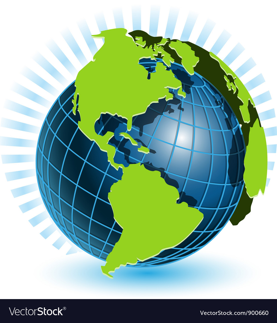 Globe and blue ray vector image