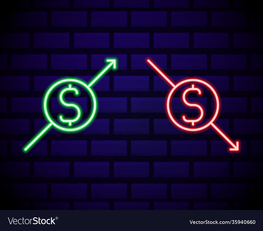 Glowing neon up and down arrows with dollar