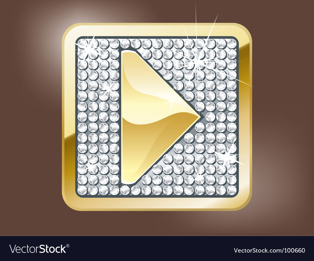 Gold play button vector image