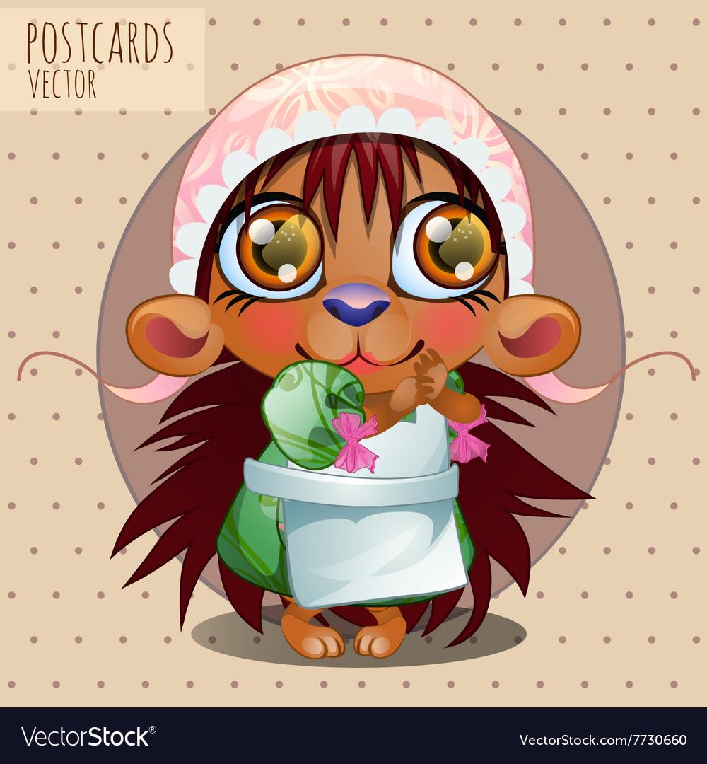 Hedgehog girl in cap series cartoon vector image