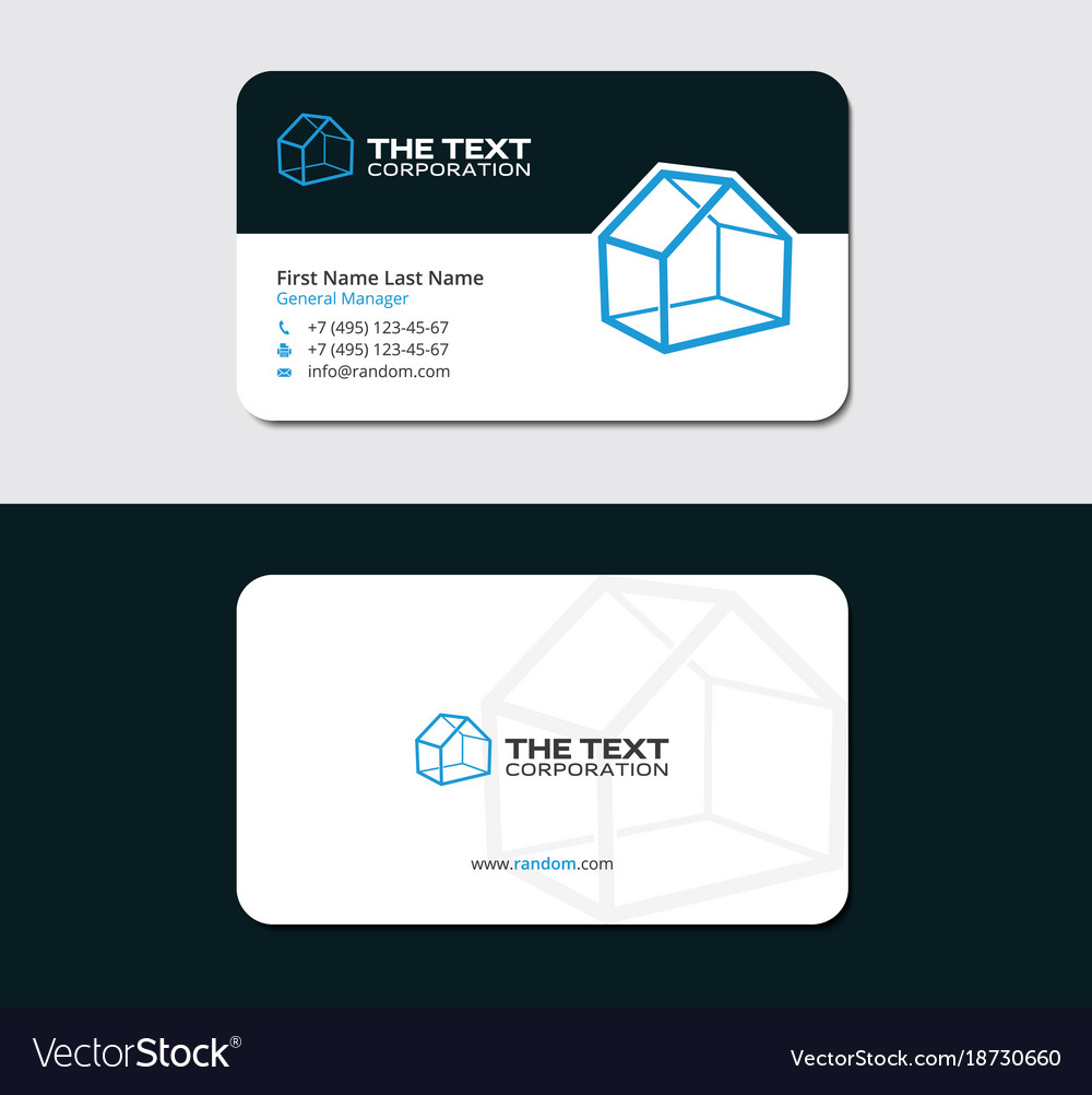 Modern business card for realtor Royalty Free Vector Image