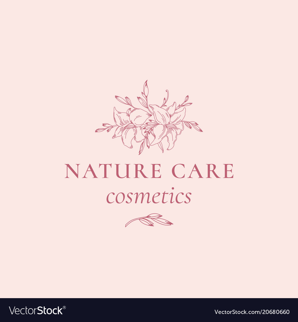 Nature care cosmetics abstract sign symbol vector image