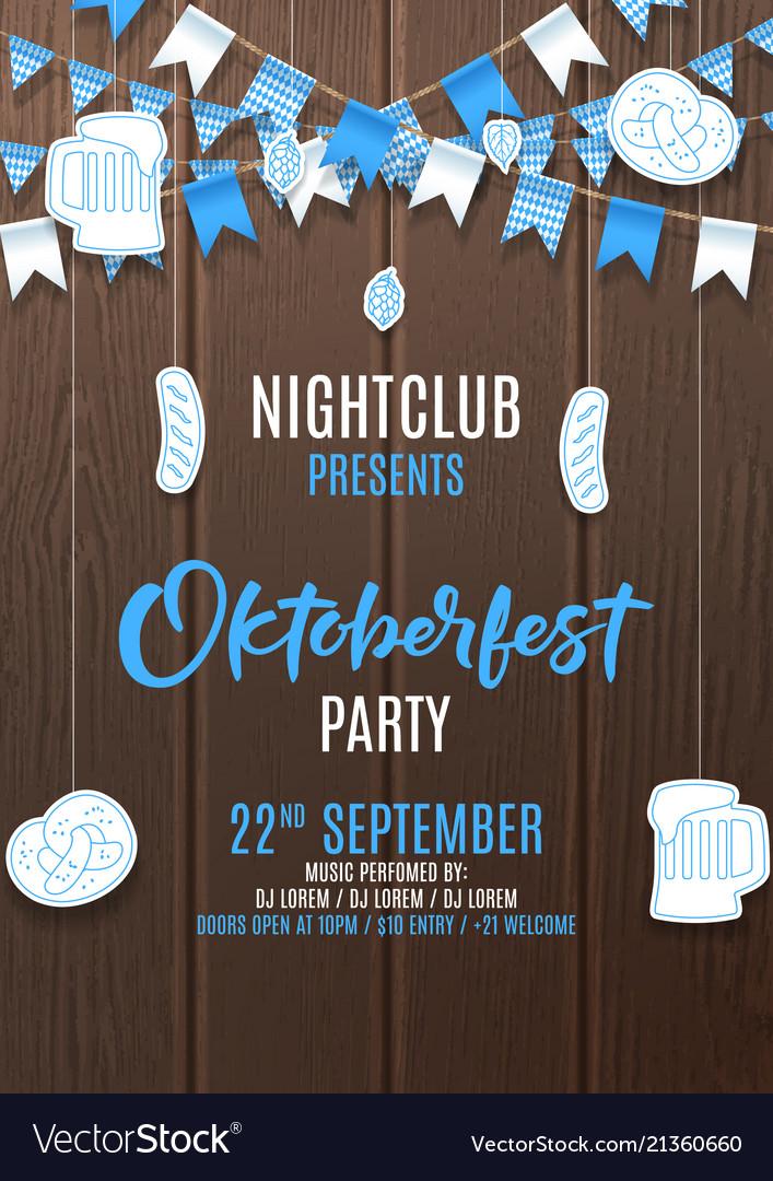 oktoberfest party flyer invite vector image