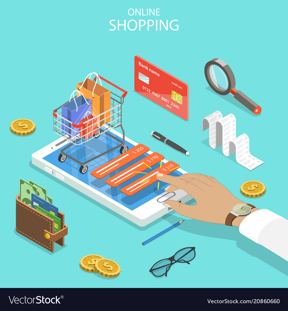 Online shopping flat isometric concept