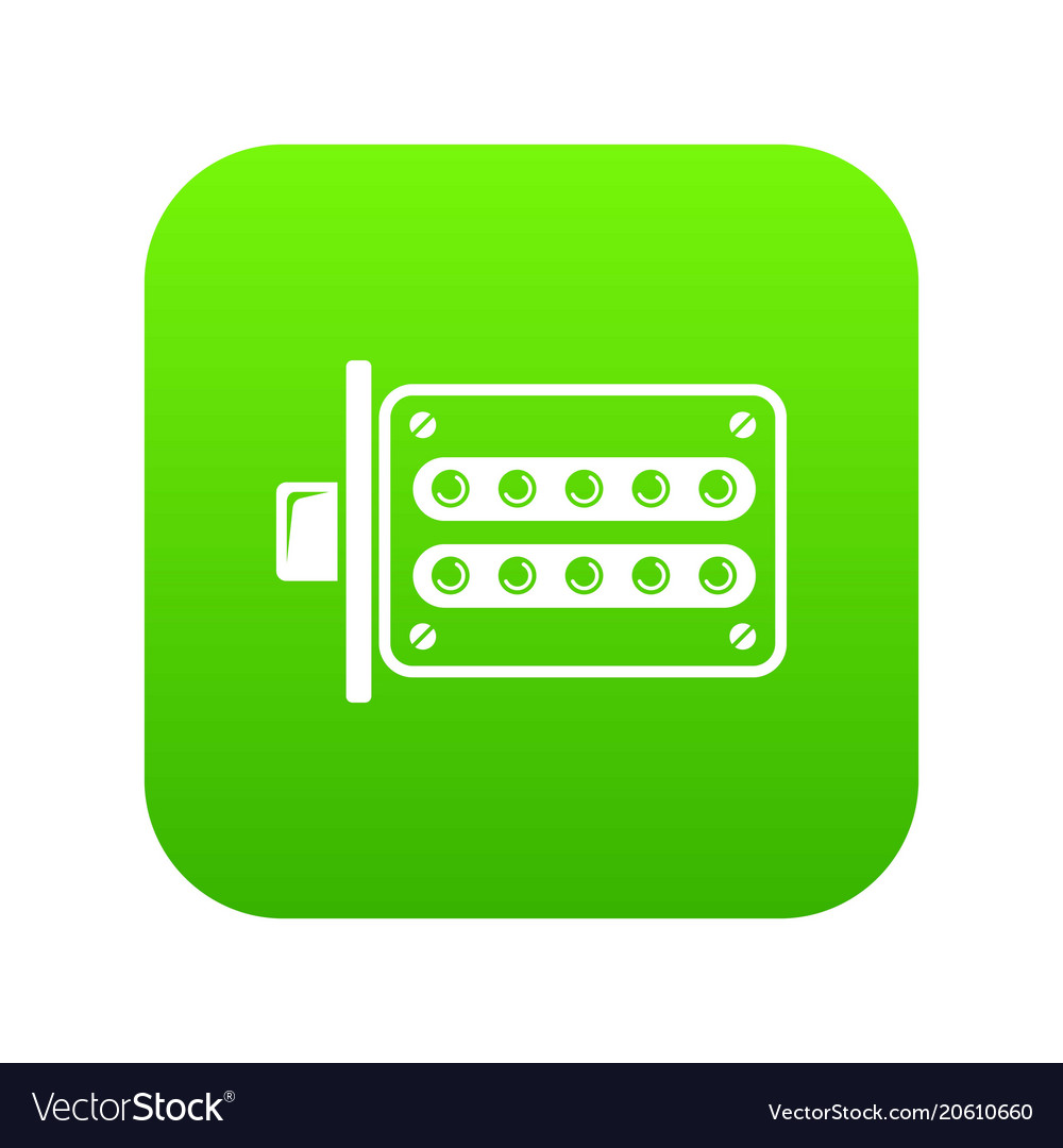 Push button lock icon green vector image