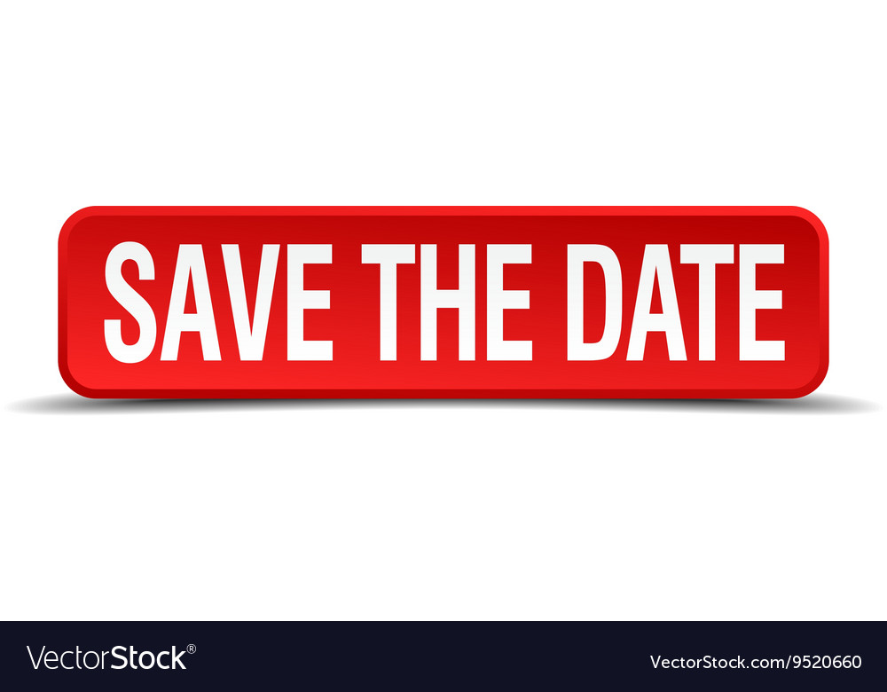 Save the date red 3d square button isolated on
