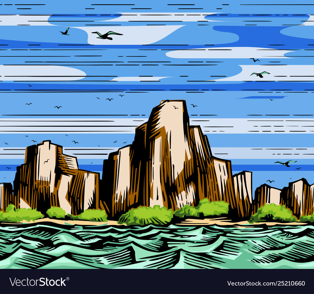Sea cliffs and seagulls landscape
