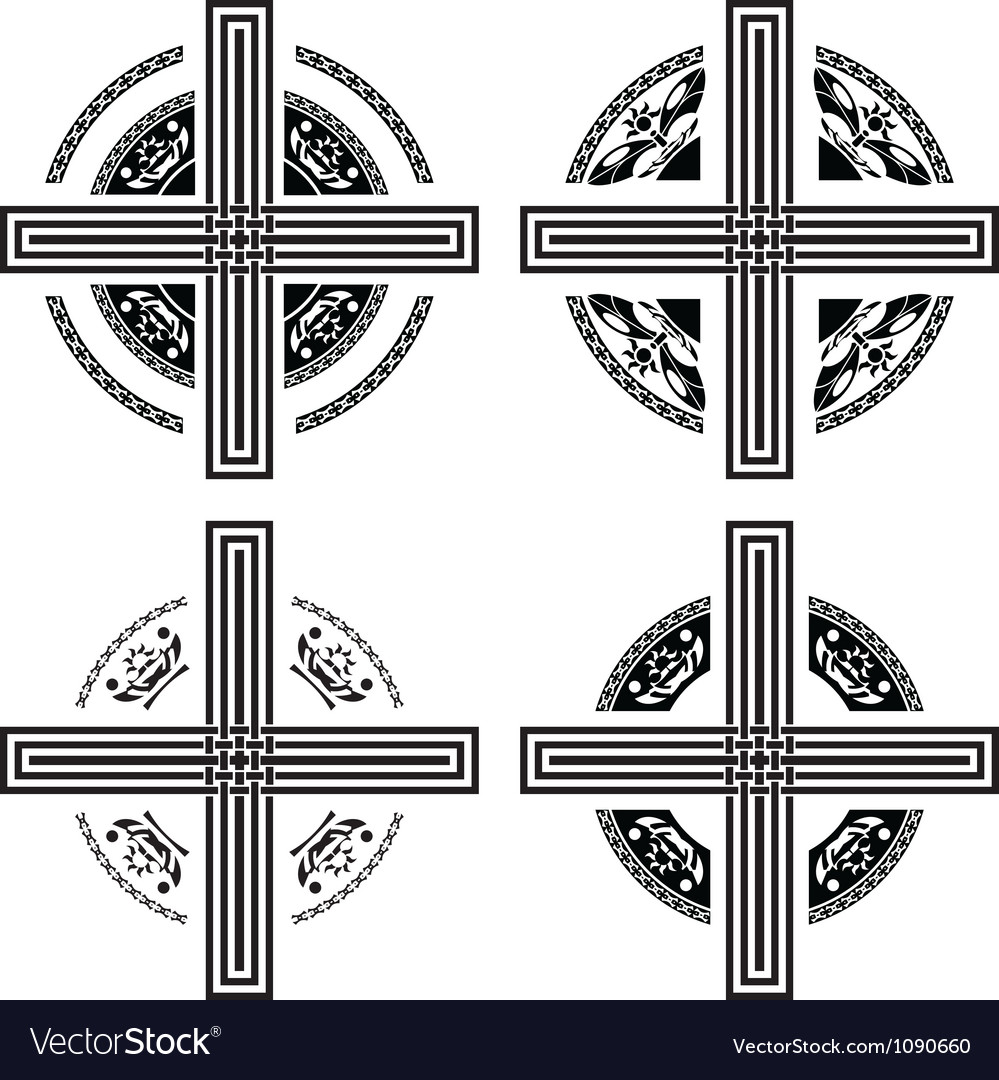 Set of fantasy crosses vector image