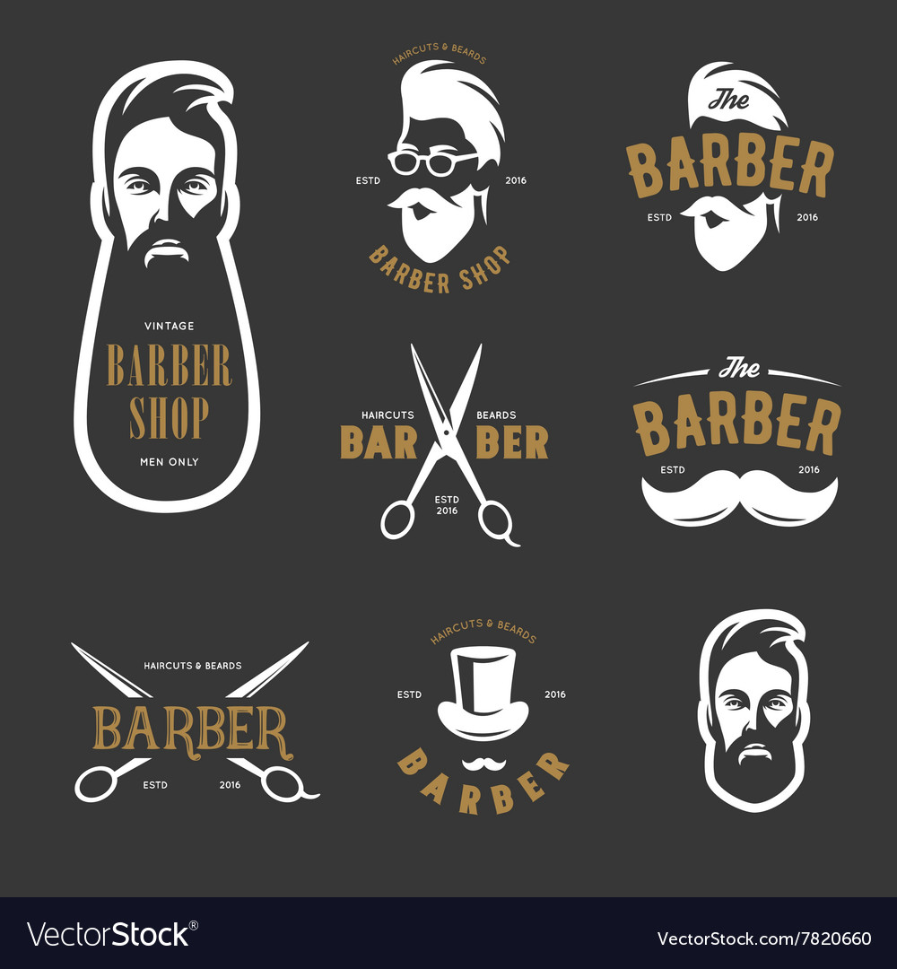 Set of vintage barber shop emblems label