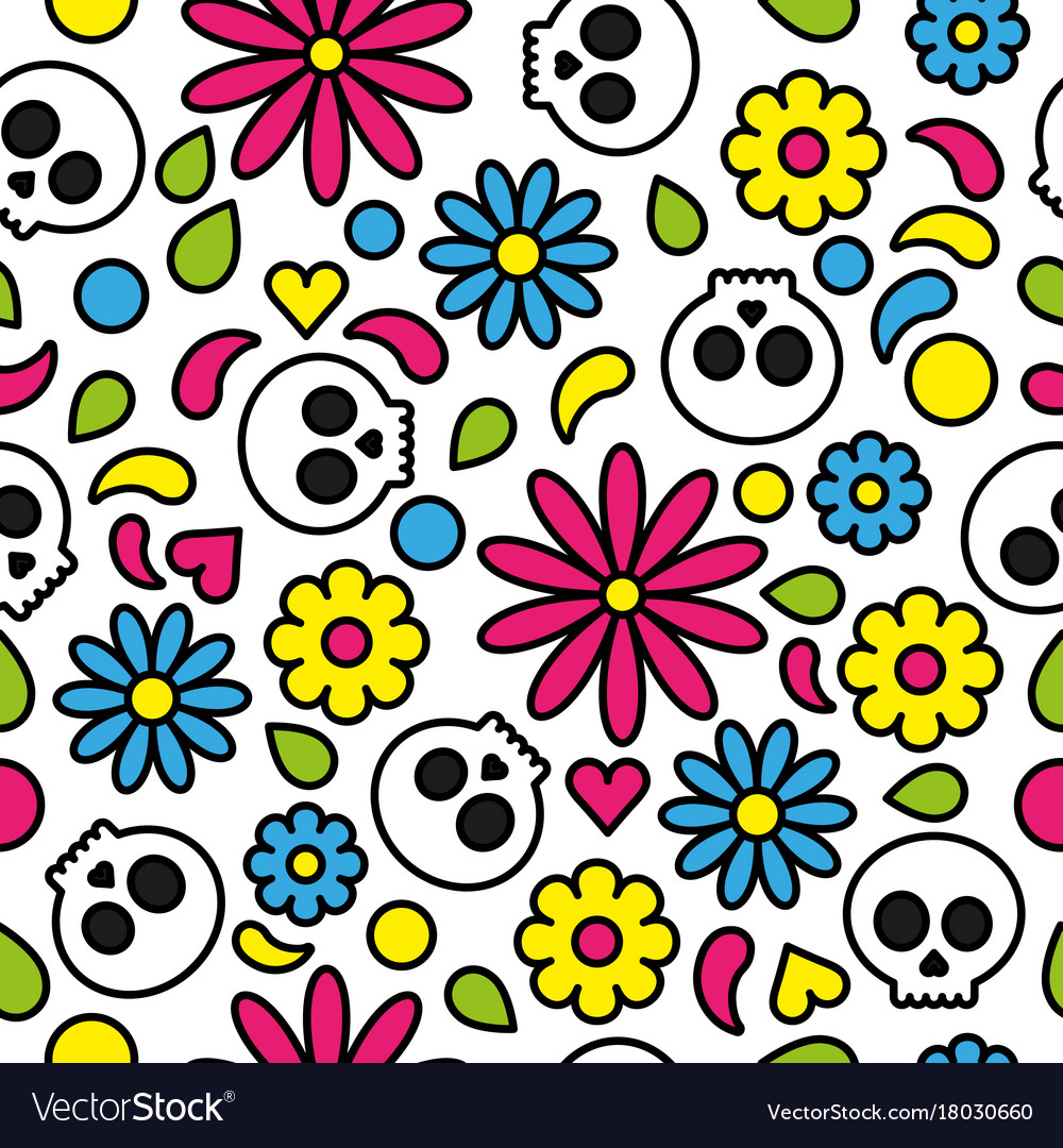 Skull seamless pattern day of the dead cute floral