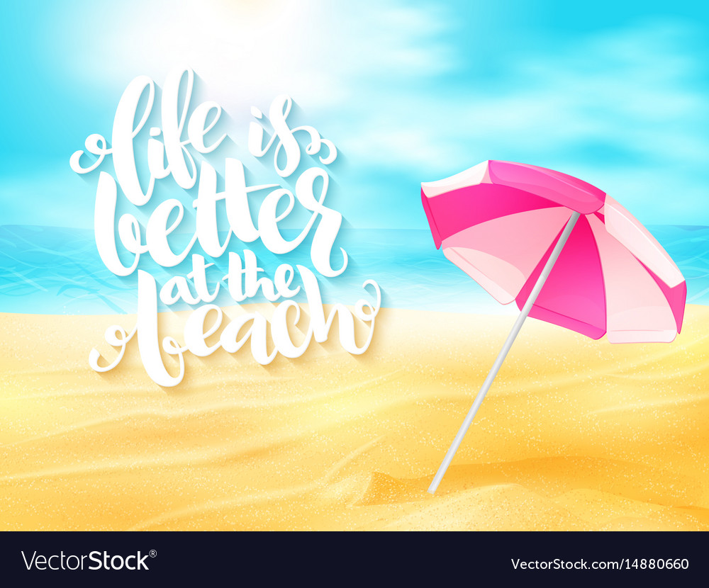 Summer travel banner with sun umbrella and