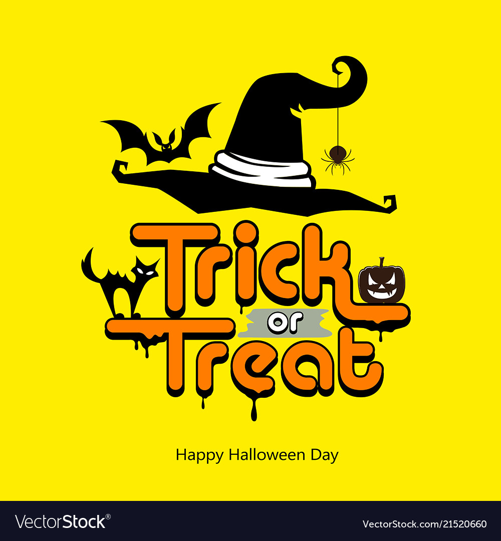 Trick or treat message hat pumpkin cat bat