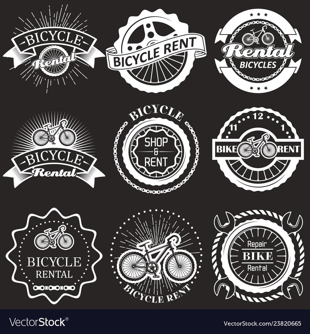 Bicycle rental vintage badges labels