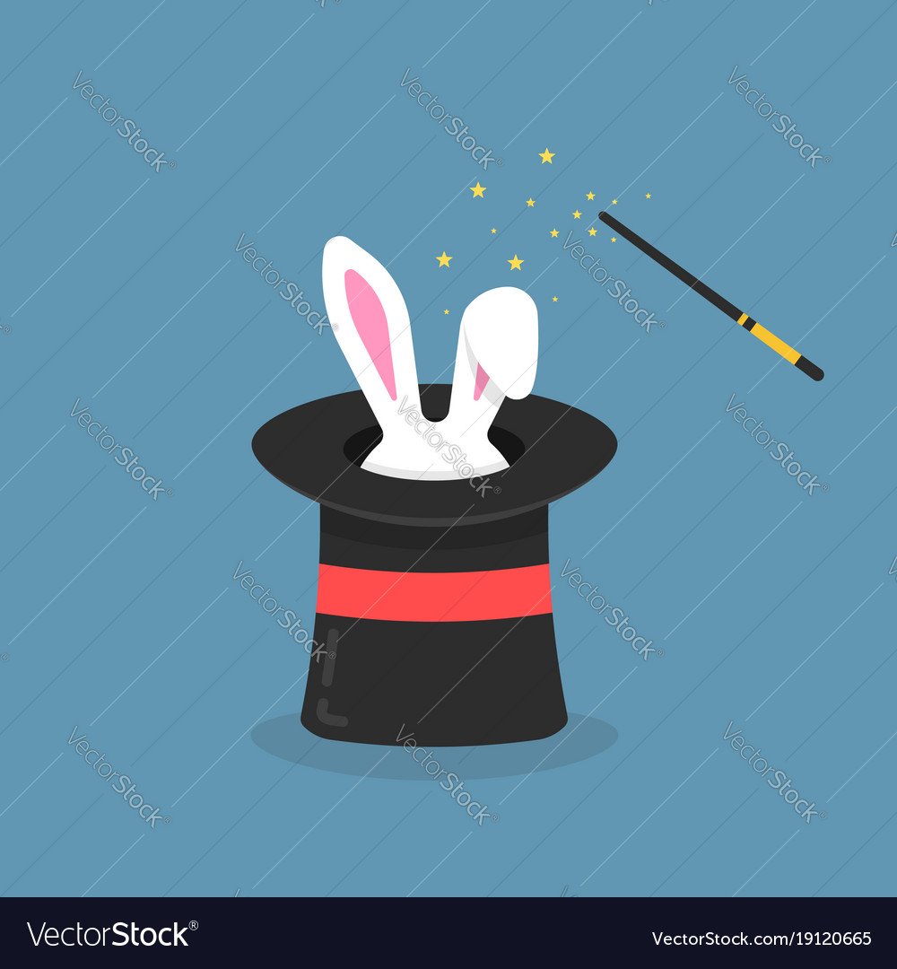 Black magic hat with bunny ears Royalty Free Vector Image d263f4d54f3f