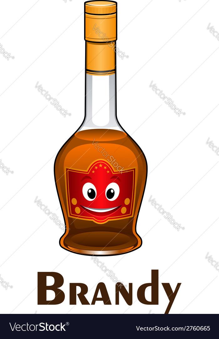 Cartoon smiling brandy bottle character vector image