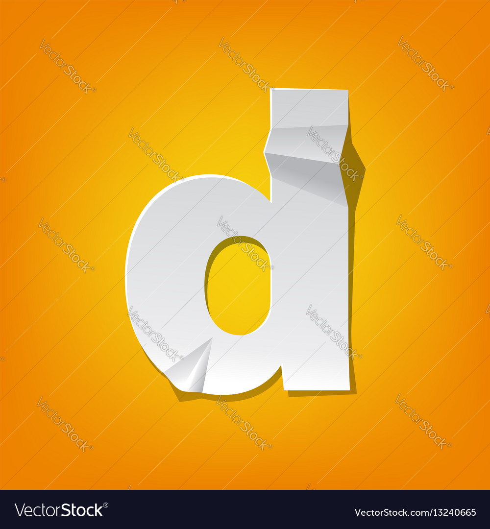 d lowercase letter fold english alphabet new vector image